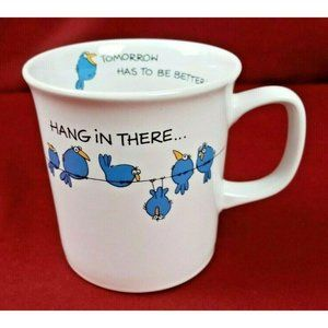 Hang In There Blue Birds on A Wire Coffee Mug Gift